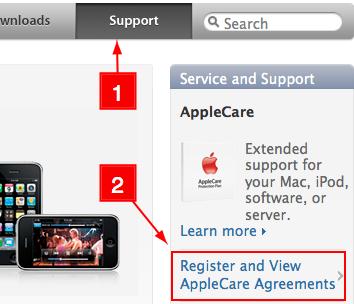 ทางเข้า apple.com/support สำหรับ applecare