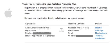 หน้าสรุป ลงทะเบียน applecare protection plan
