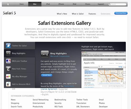 safari extensions page