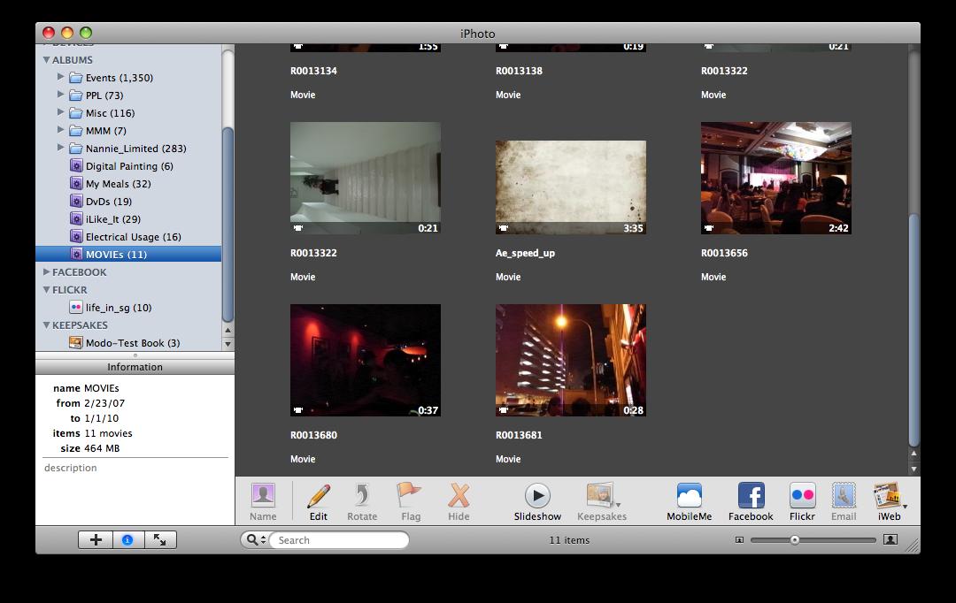 สร้าง smart album ไว้เก็บไฟล์วิดีโอใน iphoto library 2