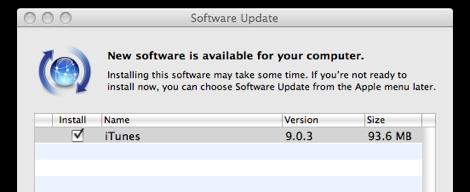 itunes 9.0.3 update