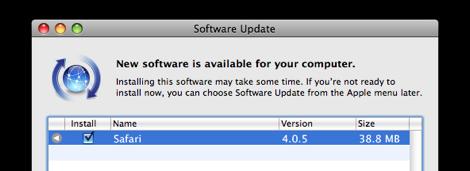 update safari 4.0.5 ออกแล้ว