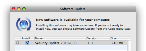 update security 2010-003 จาก apple