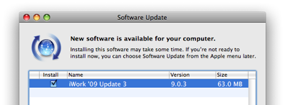 update iwork 9.0.3 จาก apple